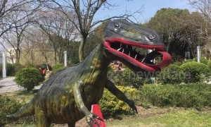 Dinosaur statue made of 3000 abandoned bike tyres at Chinese park
