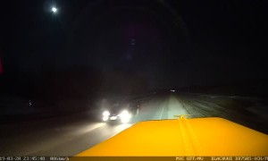 Car Drives Straight Toward Tractor Trailer