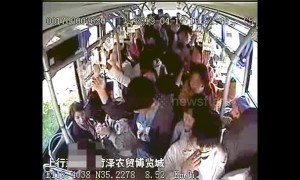 Old Chinese man sits on toddler to force him to give up seat on bus