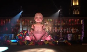 Giant mechanical baby installed for UK theatre production