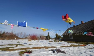 Talented slackliner performs UNBELIEVABLE trick by slashing clothes lines while backflipping