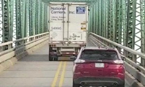 Greedy Truck Takes up Whole Bridge