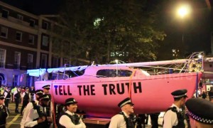 Police tow away pink ship during 'Extinction Rebellion' protest