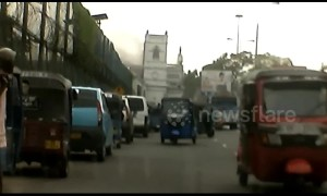 Dash cam footage captures moment of Colombo church bombing