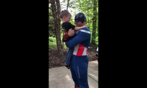 Heart-melting moment little boy realises Captain America is his dad