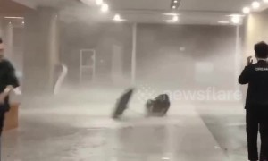 Wind and hail batters students in Zhejiang Province, China