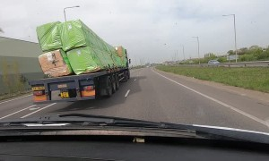 Precarious Load Leaning off Truck