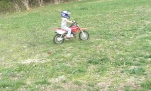 Little Girl Teaches Herself to Ride Mini Dirt Bike
