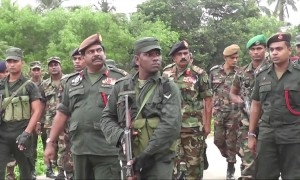 Sri Lankan military at scene of blast at suspected militant hideout