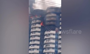 Flames seen on 22-storey apartment block in The Philippines