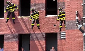 Firefighter surprises girlfriend with marriage proposal during drill