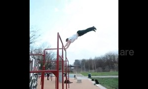 Incredible parkour skills displayed by 'Roger, ruler of the playground'