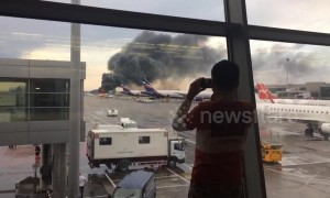Huge plumes of smoke rise into air from deadly Moscow plane fire
