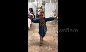 Afghan boy who lost leg to landmine dances for joy with new prosthetic limb
