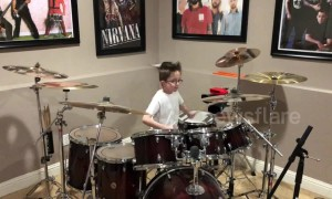Inspiring moment 10-year-old boy with autism rocks out on drums