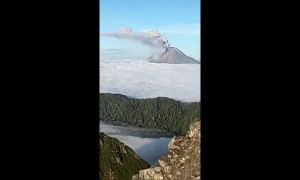 Climbers film eruption of Mount Sinabung in Indonesia