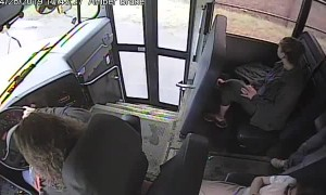 Bus driver stops student from stepping in front of speeding car