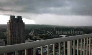 Massive storm wall approaching city of Raleigh, North Carolina