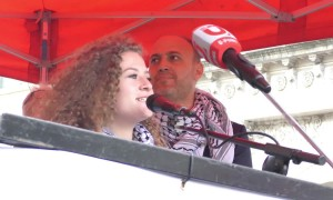 Palestinian icon Ahed Tamimi speaks at Palestine liberation demonstration