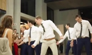 Groom and his groomsmen pull off epic dance for the bride