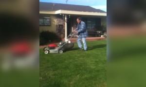 LOL - Pup Supervises Lawn Mowing