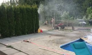 Snowmobile Skips Over a Swimming Pool