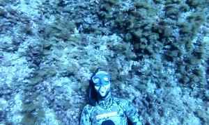 Freediver Blows Some Bubbles