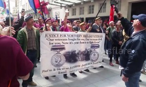 British Army veterans protest outside BBC over Bloody Sunday trial