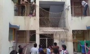 Terrifying moment leopard enters residential area in western India