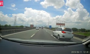 Speeding Car Pays the Price on Expressway