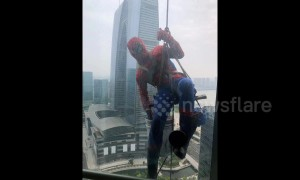 'Spiderman' spotted washing windows out of tall building in China
