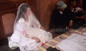 Despondent bride forced to marry older man after 'being caught seeing him around their village'
