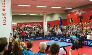 Fans erupt as Belgian table tennis legend scores final point before retiring