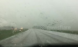 Severe hailstorm causes havoc on Kansas highway