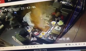 Hotpot explodes when waitress tries to take lighter out