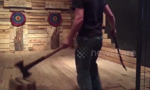 Watch this talented Canadian axe thrower perform a series of incredible trick shots