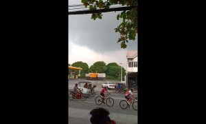 Locals stunned as waterspout looms in the horizon over the Philippines