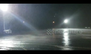 Oklahoma rainstorm that flooded town seen lashing parking lot