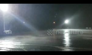 Oklahoma rainstorm that flooded town seen lashing parking lot