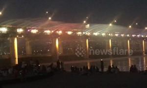 Motorway bridge turned into fountain light show in Korea
