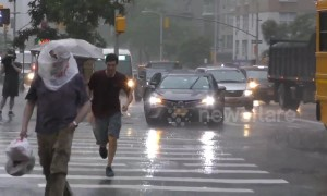 New Yorkers caught off guard by sudden downpour