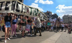 Youth climate change activists gather at Nelson's Column in central London