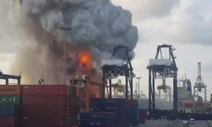 Twenty five injured in container ship explosion