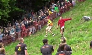 Daredevils run down Cooper's Hill for Gloucestershire Cheese Rolling race, UK