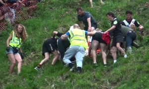 Suspected broken ankle among injuries sustained at Gloucestershire's Cheese Rolling event, UK