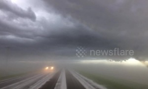 Hail fog on Nebraska highway creates crazy visual effect