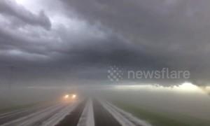 Hail fog on Nebraska highway creates crazy visual effect