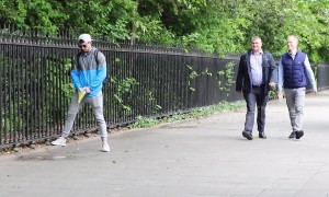Lads trick the public with a simple fake urination prank, Dublin Ireland