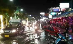 Rainy season flash floods submerge roads in Thailand