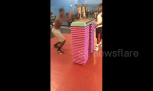 Man tries incredible gym jump and fails in epic fashion